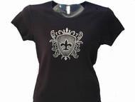 Fleur De Lis Crest Bling Rhinestone T Shirt made with Swarovski crystals