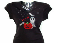 Halloween Ghost, Bats & Pumpkin Swarovski Crystal Rhinestone T Shirt