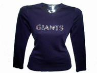 Giants Swarovski Crystal Ladies Women's Rhinestone T Shirt
