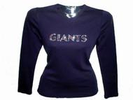 Giants Swarovski Crystal Ladies Women's Rhinestone T Shirt