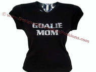 Goalie Mom Swarovski Crystal Rhinestone Studded T Shirt
