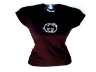 "Gucci Inspired ""GG"" Swarovski Crystal Rhinestone T Shirt Design"