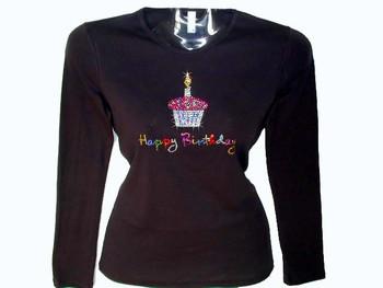 Happy Birthday Cupcake Swarovski Crystal Rhinestone T Shirt