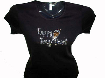 Happy new year new year 39 s eve bling swarovski rhinestone for Swarovski crystal t shirts