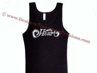 Heart Band Logo Swarovski Crystal Rhinestone T Shirt Tank Top