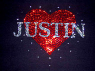 Custom Name Valentine's Day Heart Swarovski Rhinestone Shirt