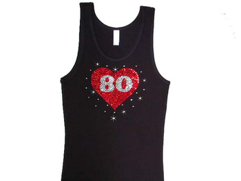 Heart With Your Favorite Sports Stars Number Rhinestone T Shirt
