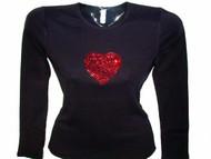 Valentine's Day Heart Swarovski Rhinestone Bling T Shirt