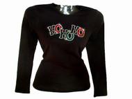 Ho Ho Ho Christmas Holiday Swarovski Bling Rhinestone T Shirt