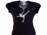 Ice Skater Swarovski Crystal Rhinestone T Shirt