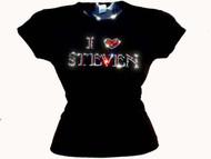 Custom Name I Love Heart Rhinestone T Shirt