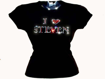 Custom Name I Love Heart Rhinestone T Shirt