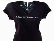 Imported From Detroit Swarovski Crystal Rhinestone Tee Shirt