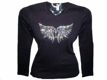 Angel wings cross swarovski crystal rhinestone t shirt for Swarovski crystal t shirts