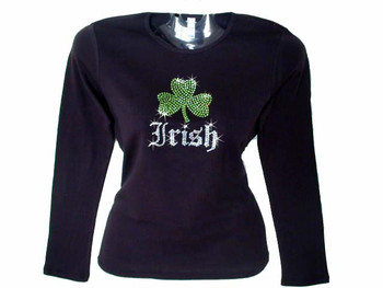Irish shamrock st patty 39 s day swarovski crystal for Swarovski crystal t shirts