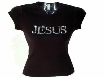 Jesus Swarovski Rhinestone Bling T Shirt