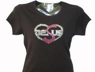 Jesus Heart Swarovski Rhinestone Bling T Shirt