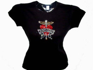 Jovi Girl Heart and Dagger Swarovski Crystal Rhinestone T Shirt Top