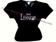 John Lennon The Beatles Vintage Swarovski Crystal Rhinestone T Shirt Top