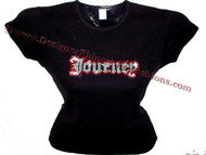 Journey Red & Clear Swarovski Crystal Rhinestone Concert T Shirt Top