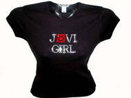 Jovi Girl Red Swarovski Crystal Rhinestone Concert Tour T Shirt Top