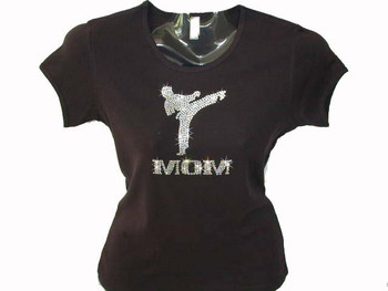 Karate Mom Swarovski rhinestone bling t shirt