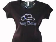 Swarovski Rhinestone Kenny Chesney Cowboy Hat T Shirt