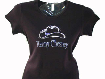 Swarovski rhinestone kenny chesney cowboy hat t shirt for Swarovski crystal t shirts