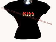 KISS Logo Swarovski Crystal Rhinestone T Shirt Top
