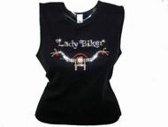 Lady Biker Swarovski Crystal Rhinestone Motorcycle Biker T Shirt Top