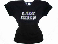 Lady Rider Swarovski Crystal Rhinestone Motorcycle Rhinestone T Shirt Top
