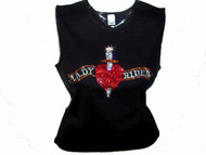 Lady Rider Heart & Dagger Swarovski Crystal Rhinestone Motorcycle T Shirt