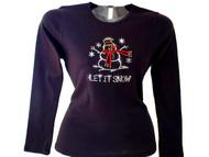 Let It Snow Christmas Holiday Winter Swarovski Crystal Rhinestone T Shirt