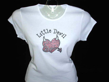 Little Devil Heart Swarovski Crystal Rhinestone T Shirt