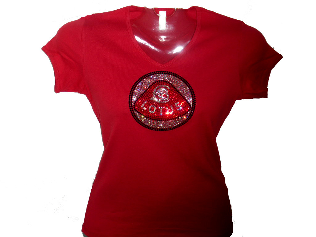 Lotus logo swarovski crystal rhinestone t shirt for Swarovski crystal t shirts