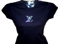 Louis Vuitton Inspired Swarovski Crystal Rhinestone T Shirt