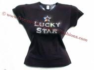 Lucky Star Madonna Concert Swarovski Crystal Rhinestone T Shirt Top
