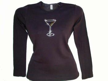 Martini Glass Swarovski Crystal Rhinestone Bling T Shirt