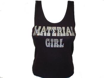 Madonna Material Girl Swarovski Rhinestone Tank Top or T Shirt