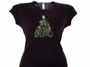 Merry Christmas Tree Swarovski Crystal Rhinestone T Shirt