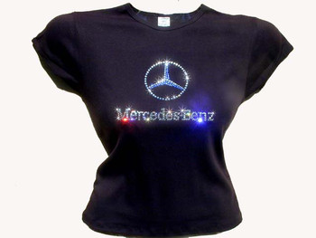 Mercedes swarovski crystal rhinestone t shirt for Swarovski crystal t shirts