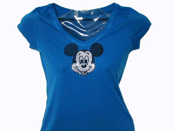 Mickey Face Swarovski Crystal Rhinestone T Shirt