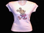 Mickey Swarovski Crystal Rhinestone Studded Bling T Shirt