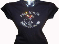 Miss Kitty Pussy Cat Lounge Swarovski Crystal Rhinestone Shirt