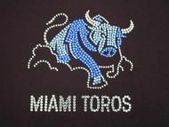 Miami Toros Logo Swarovski Crystal Bling Rhinestone Tee Shirt