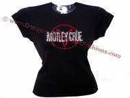 Motley Crue Pentagram Swarovski Crystal Rhinestone Concert Tour T Shirt Top