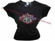 Motley Crue Red, White & Crue Swarovski Crystal Rhinestone Concert Tour T Shirt