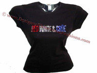 Motley Red White & Crue Swarovski Crystal Rhinestone Ladies T Shirt Top