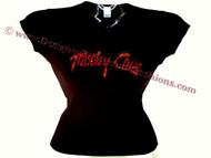 Motley Crue Red Swarovski Crystal Rhinestone Concert Tour T Shirt Top
