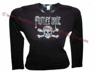 Motley Crue Skull & Crossbones Swarovski Crystal Concert Tour T Shirt Top